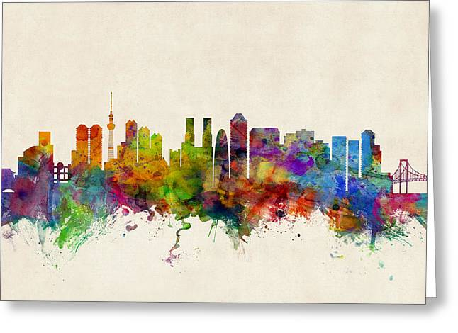 Cityscape Greeting Cards - Tokyo Japan Skyline Greeting Card by Michael Tompsett