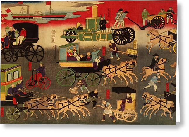 Steamboat Digital Art Greeting Cards - Tokyo Oari Kuruma Zukushi Greeting Card by Digital Reproductions