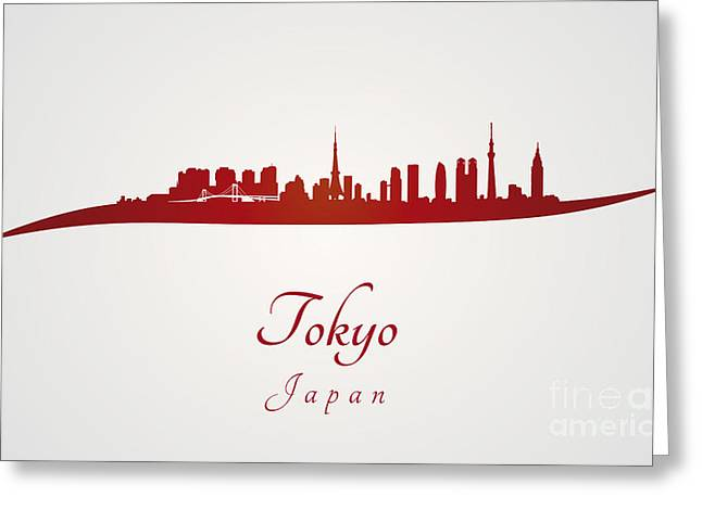 Tokyo Skyline In Red Greeting Card by Pablo Romero
