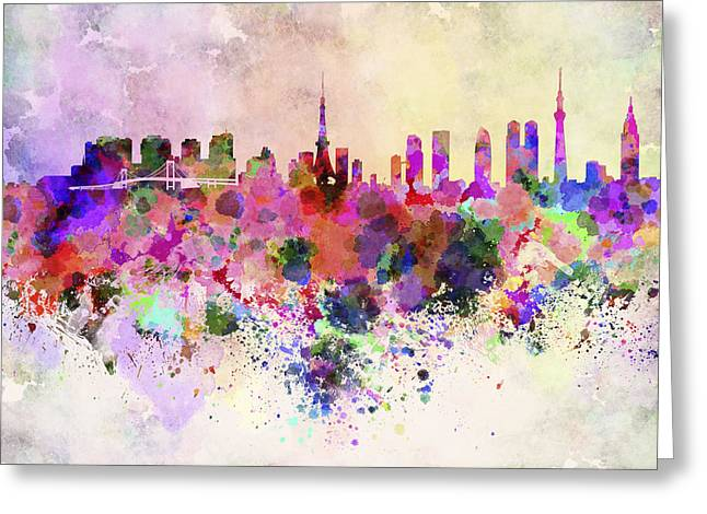 Tokyo Skyline Greeting Cards - Tokyo skyline in watercolor background Greeting Card by Pablo Romero