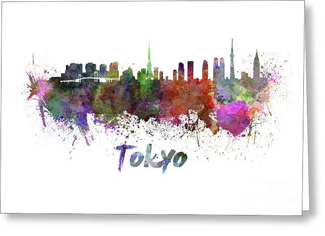 Tokyo Skyline Greeting Cards - Tokyo skyline in watercolor Greeting Card by Pablo Romero