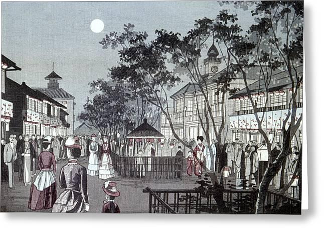 Tokyo Street Scene, 1889 Greeting Card by Granger