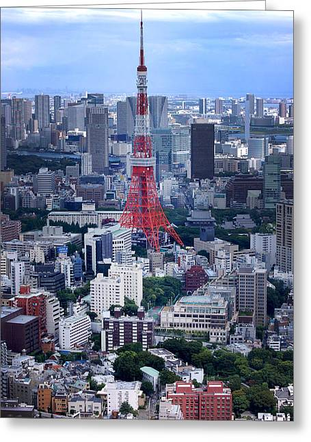 Tokyo Skyline Greeting Cards - Tokyo Tower Greeting Card by Rachel  Arbaugh