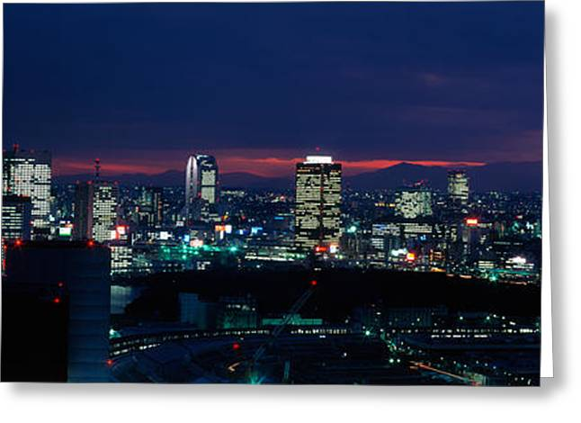 Dark Skies Greeting Cards - Tokyo Tower Tokyo Japan Greeting Card by Panoramic Images