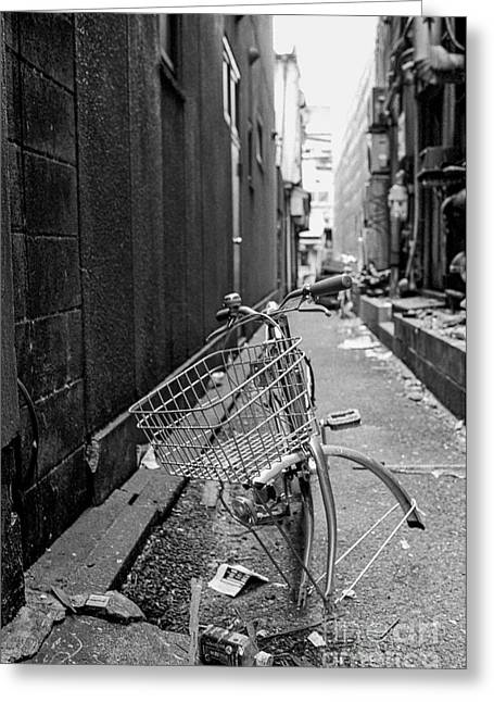 Back Alley Greeting Cards - Tokyo Unicycle Greeting Card by Dean Harte