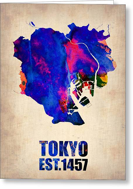Global Map Greeting Cards - Tokyo Watercolor Map 2 Greeting Card by Naxart Studio