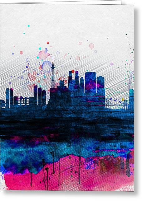 Tokyo Greeting Cards - Tokyo Watercolor Skyline 2 Greeting Card by Naxart Studio