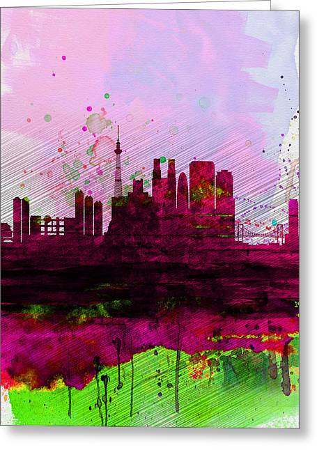 Tokyo Greeting Cards - Tokyo Watercolor Skyline Greeting Card by Naxart Studio