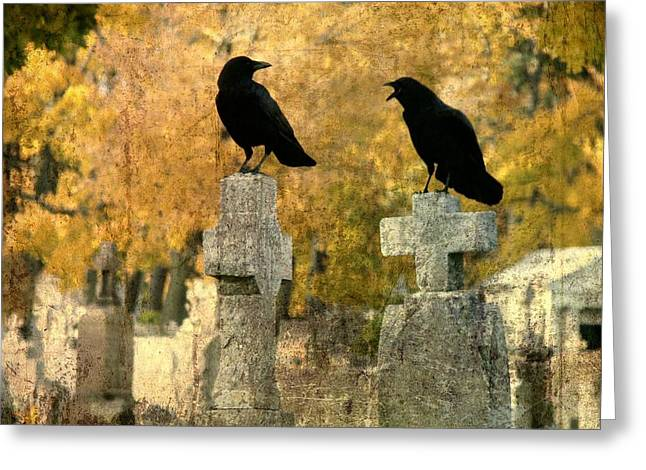 Crows Mingling Greeting Cards - Told You So Greeting Card by Gothicolors Donna Snyder