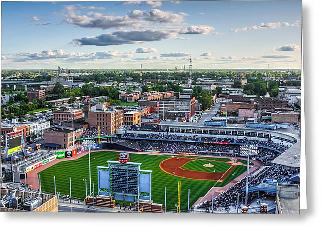 Aaa Greeting Cards - Toledo Mud Hens Home Game Greeting Card by Joshua Ball