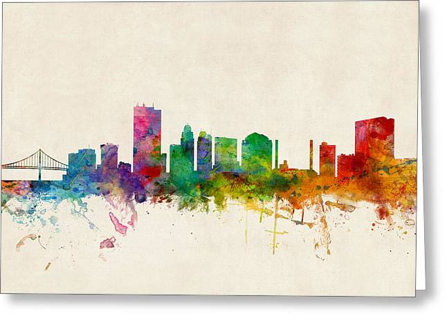 Skyline Greeting Cards - Toledo Ohio Skyline Greeting Card by Michael Tompsett