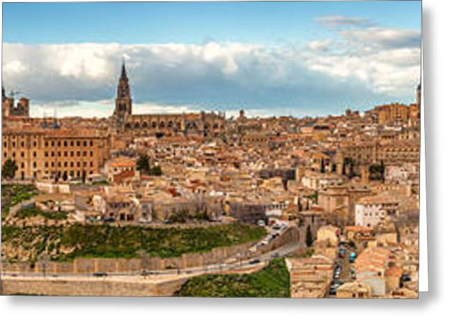 Ladnscape Greeting Cards - Toledo Panorama Greeting Card by Jennifer Grover