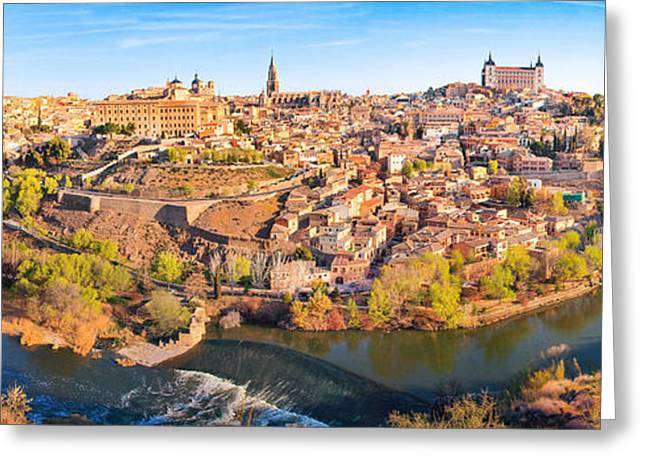 Castile La Mancha Greeting Cards - Toledo Sunset Panorama Greeting Card by JR Photography