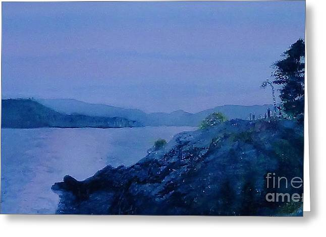 Lions Gate Bridge Paintings Greeting Cards - Tolkien Grey Havens   West Vancouver Whytecliff Park wide format Greeting Card by Glen McDonald