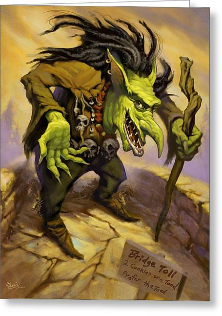 Jeff Digital Art Greeting Cards - Toll Troll Greeting Card by Jeff Haynie
