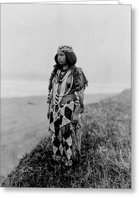 1923 Greeting Cards - Tolowa Indian woman circa 1923 Greeting Card by Aged Pixel