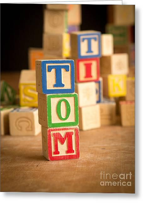 Spelling Greeting Cards - TOM - Alphabet Blocks Greeting Card by Edward Fielding