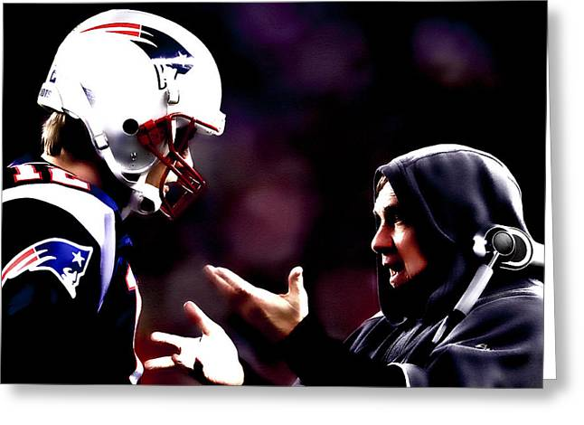 Elway Greeting Cards - Tom Brady and Coach Greeting Card by Brian Reaves