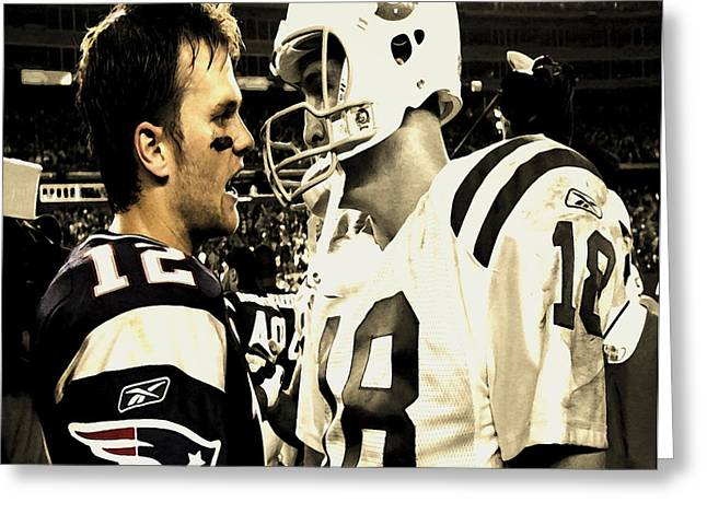 Espn Digital Greeting Cards - Tom Brady and Peyton Manning Face Off  Greeting Card by Brian Reaves