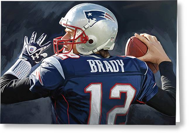 Nfl Mixed Media Greeting Cards - Tom Brady Artwork Greeting Card by Sheraz A