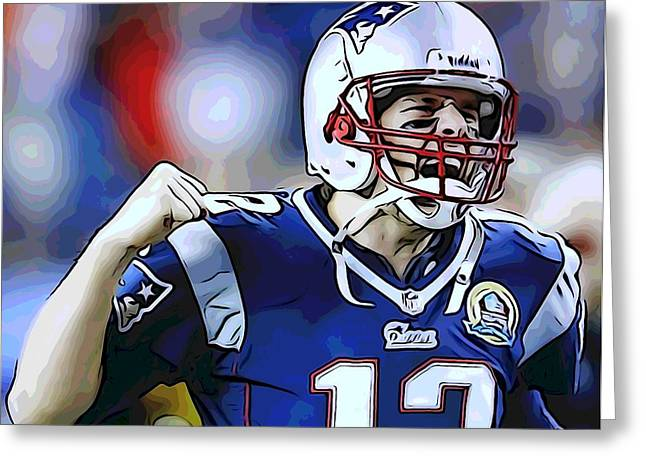 National Mixed Media Greeting Cards - Tom Brady Greeting Card by Dan Sproul