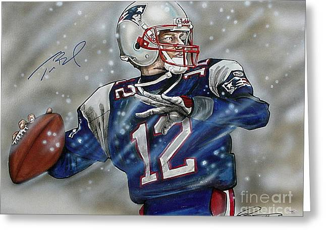 Nfl Drawings Greeting Cards - Tom Brady Greeting Card by Dave Olsen