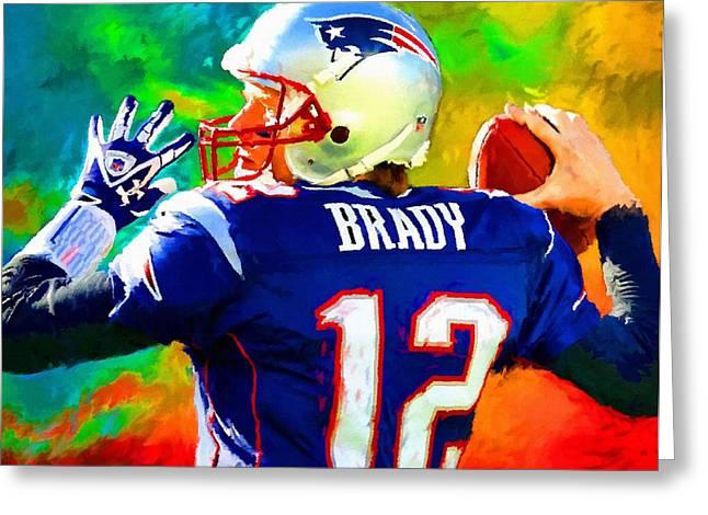 Patriot Art Prints Greeting Cards - Tom Brady Football Art Painting Greeting Card by Andres Ramos
