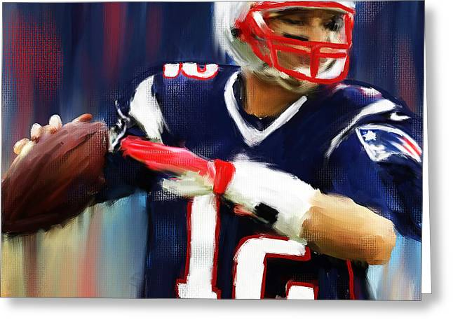 American Football Paintings Greeting Cards - Tom Brady Greeting Card by Lourry Legarde