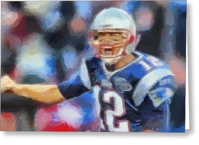 Best Sports Mixed Media Greeting Cards - Tom Brady New England Patriots Greeting Card by Dan Sproul