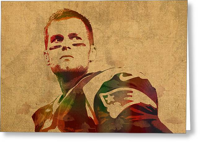 Tom Brady New England Patriots Quarterback Watercolor Portrait On Distressed Worn Canvas Greeting Card by Design Turnpike