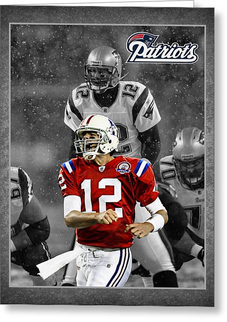 Footballs Greeting Cards - Tom Brady Patriots Greeting Card by Joe Hamilton