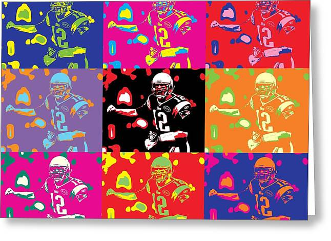 Patriot League Greeting Cards - Tom Brady Pop Art Greeting Card by Dan Sproul