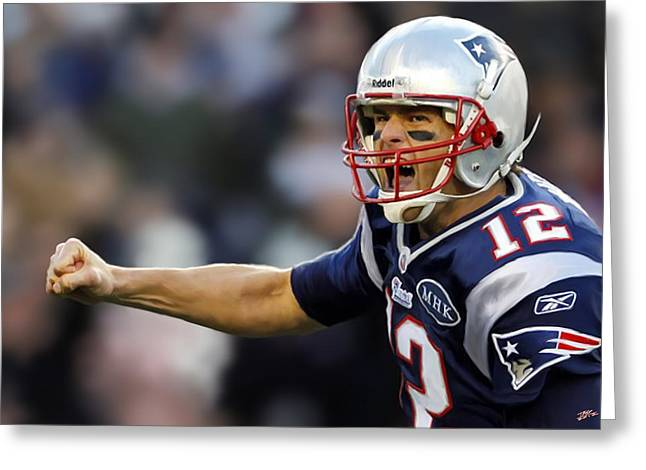 Foxboro Greeting Cards - Tom Brady - Portrait Greeting Card by Paul Tagliamonte