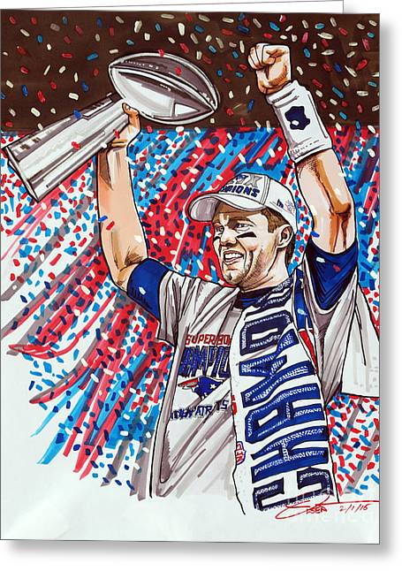 Tom Brady Superbowl Xlix Mvp Greeting Card by Dave Olsen