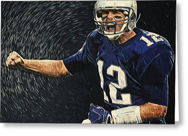 Pro Football Digital Greeting Cards - Tom Brady Greeting Card by Taylan Soyturk
