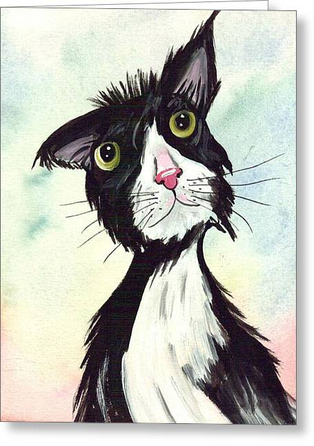 Confident Cat Greeting Cards - Tom Cat all confident Greeting Card by Rita Drolet