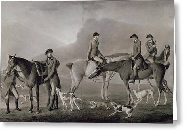 Fox Hunting Greeting Cards - Tom Conolly Of Castletown Hunting With His Friends, 1769 Pastel, Chalk & Gouache On Paper Greeting Card by Robert Healy