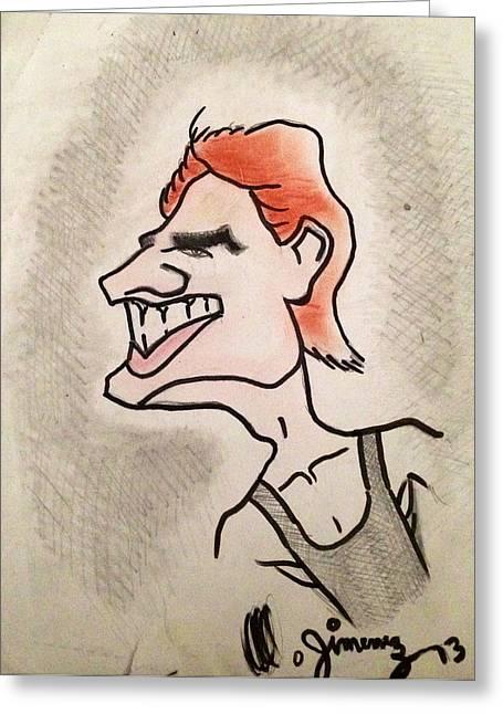 Tom Cruise Caricature Greeting Card by Mario  Jimenez