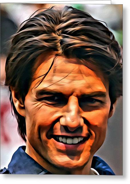 Black Top Greeting Cards - Tom Cruise Portrait Greeting Card by Florian Rodarte