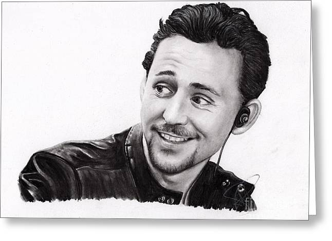 Thor Drawings Greeting Cards - Tom Hiddleston 2 Greeting Card by Rosalinda Markle