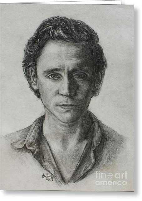 Thor Drawings Greeting Cards - Tom Hiddleston Greeting Card by Christine Jepsen