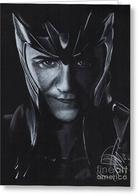 Thor Drawings Greeting Cards - Tom Hiddleston Greeting Card by Rosalinda Markle