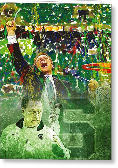 Basketballs Greeting Cards - Tom Izzo String Music Greeting Card by John Farr