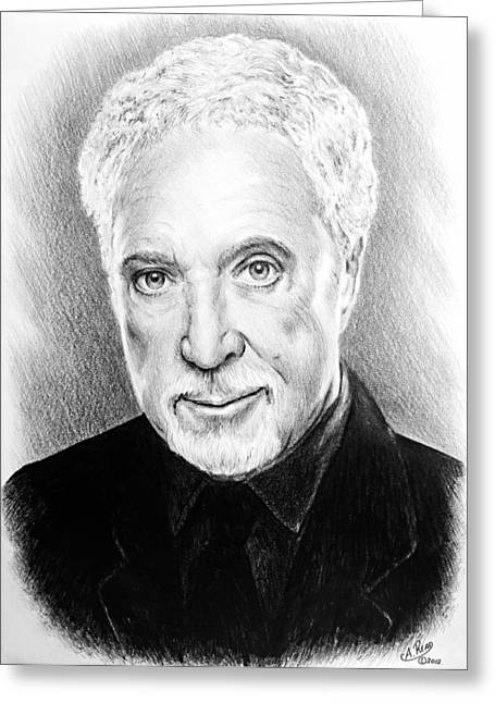 Famous Person Drawings Greeting Cards - Tom Jones Greeting Card by Andrew Read