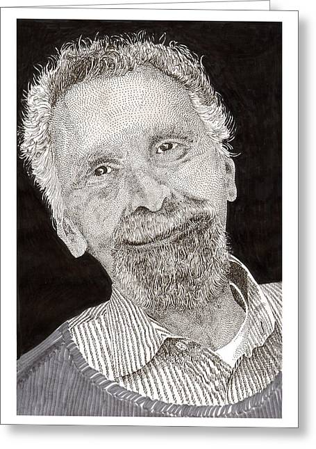 Repaired Drawings Greeting Cards - CAR TALKs Tom Magliozzi Greeting Card by Jack Pumphrey