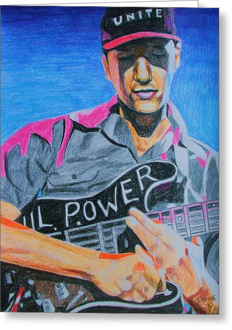 Guitar Player Drawings Greeting Cards - Tom Morello Greeting Card by Jeremy Moore