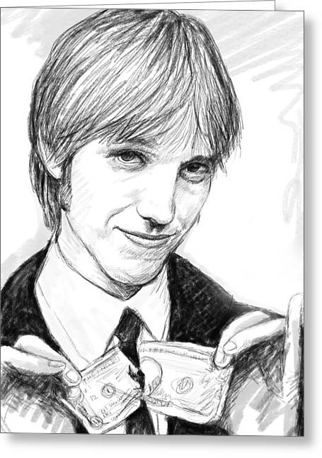 1980s Portraits Greeting Cards - Tom petty art drawing sketch portrait Greeting Card by Kim Wang