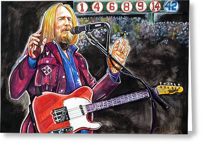 Tom Petty At Fenway Park Greeting Card by Dave Olsen