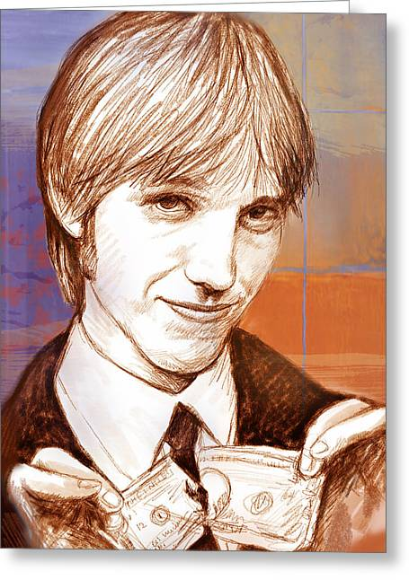 Featured Mixed Media Greeting Cards - Tom Petty - stylised drawing art poster Greeting Card by Kim Wang