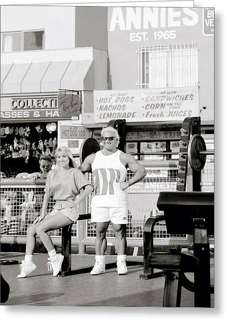 Californian Greeting Cards - Tom Platz At Venice Beach Greeting Card by Shaun Higson